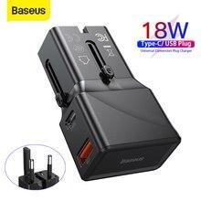 Baseus 18W USB Ladegerät Universelle Umwandlung Stecker PPS Ladegerät Unterstützung PD 3,0 QC 3,0 Schnelle Lade AFC FPC Typ-C Dual Port Ladung