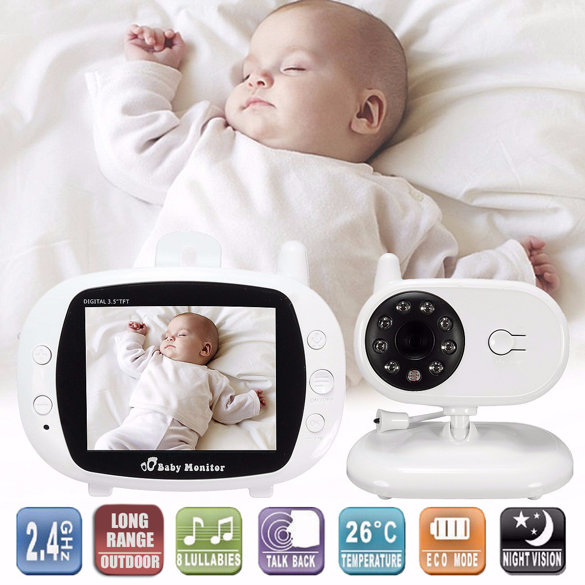 2.4G Wireless Digital 3.5 Inch LCD Baby Monitor High Resolution Baby Nanny Security Camera Night Vision Temperature Detection