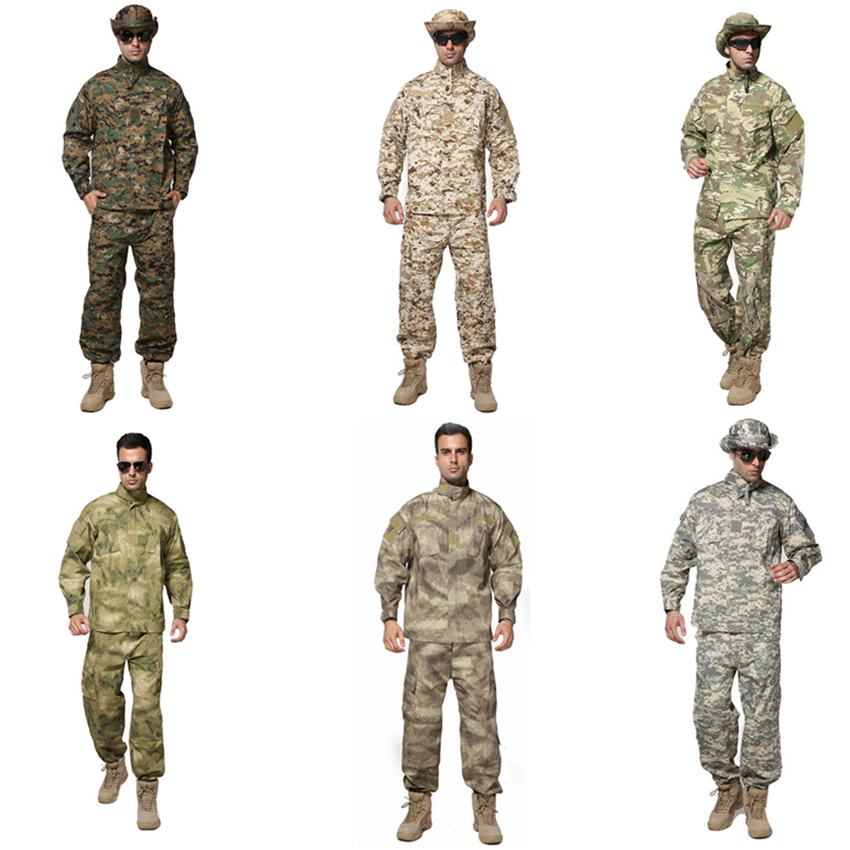 8Color Men Military Uniform Special Forces Combat Shirt For Man Army Long Sleece Tactical Soldier Camouflage Clothing Pant Set