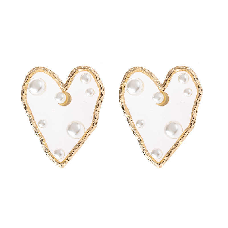 Fashion Personality Transparent Resin Imitation Pearl Heart Metal Border Star With The Earrings Exaggerated Jewelry For Women