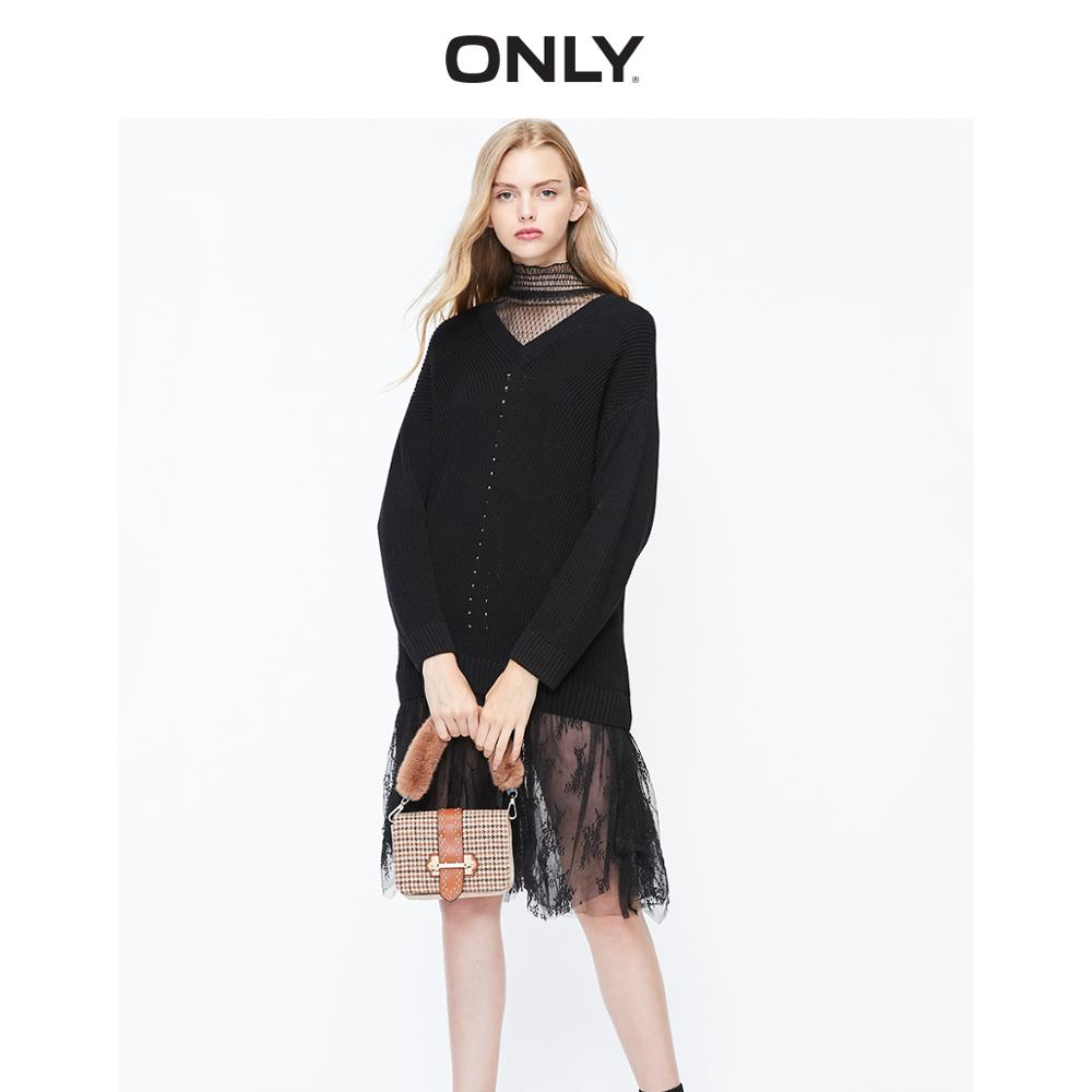 ONLY Women's Loose Fit Spliced Lace Irregular Hemline Knitted Dress | 119346505