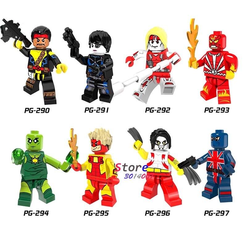 Single Super Hero DC Comics Forge Pyro Domino Radioactive Man Union Jack Omega Building Blocks Toys For Children