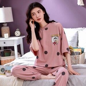 Image 3 - 4XL młoda dziewczyna bielizna nocna zestawy luźne ubrania wiosna cienka krótki rękaw kobiety piżamy Dot drukowanie piżamy urocza odzież domowa