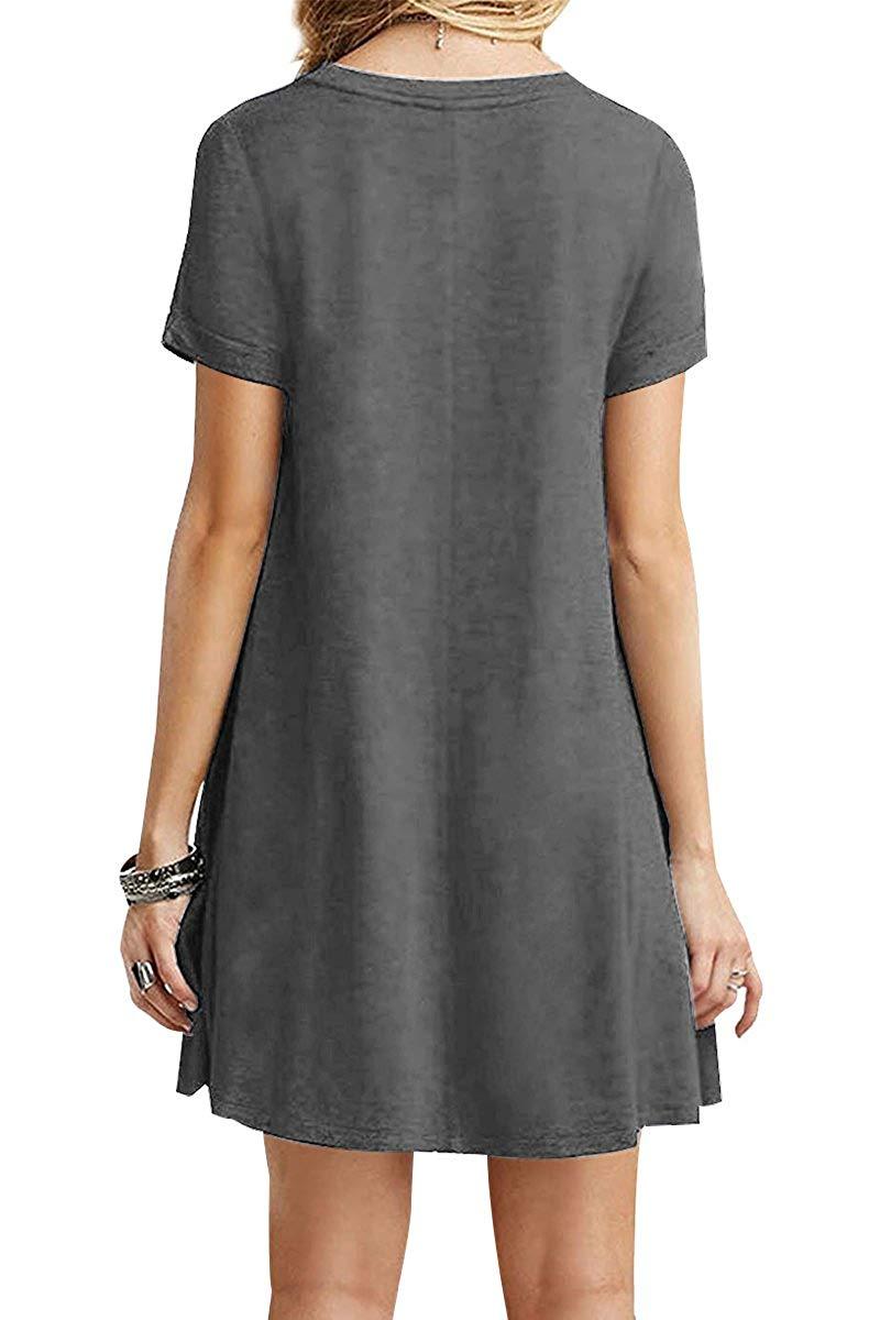 CHH7028 femmes d'été chemise robes Mini robe manches courtes robe grande taille a-ligne bohème