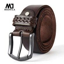 MEDYLA 100% natural cowhide men's belt matte pin buckle toug