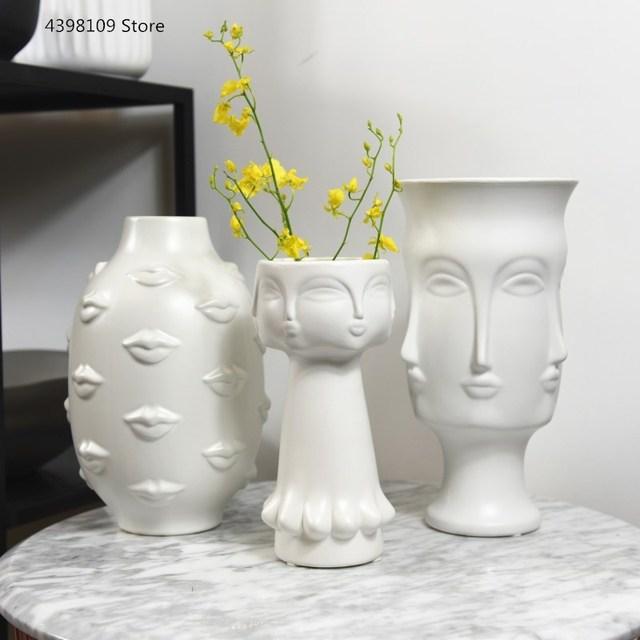 Scandinavian white ceramic vase decoration home decoration crafts modern interior decoration countertop vase art face shape vase 1