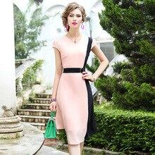 2019 new Women Office Lady elegant dress Celebrities Chiffon Patchwork Party Dress Plus Size Asymmetrical sexy summer dresses