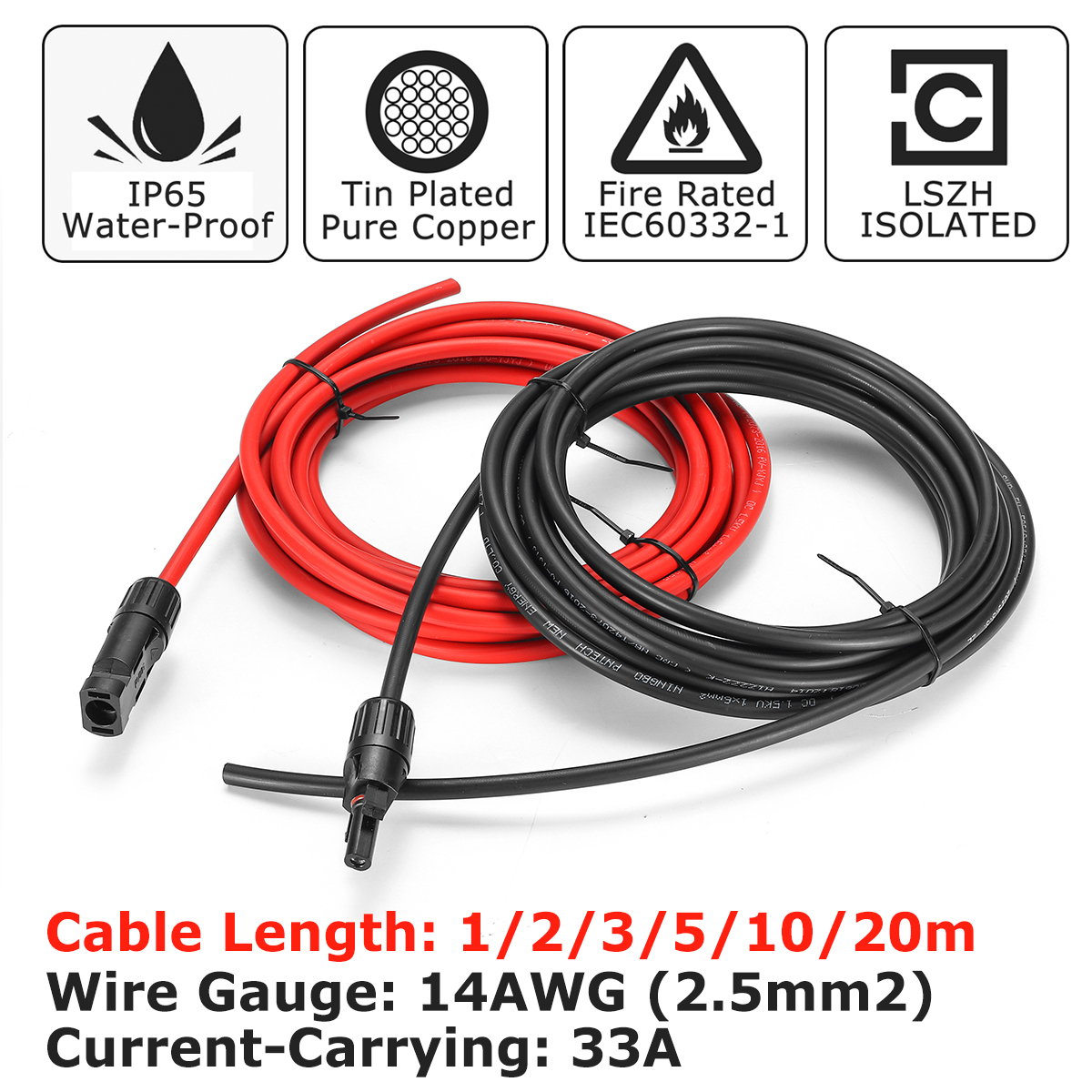 10 AWG 15 Meter Solar Panel Extension Cable Wire Black//Red with MC4 Connectors