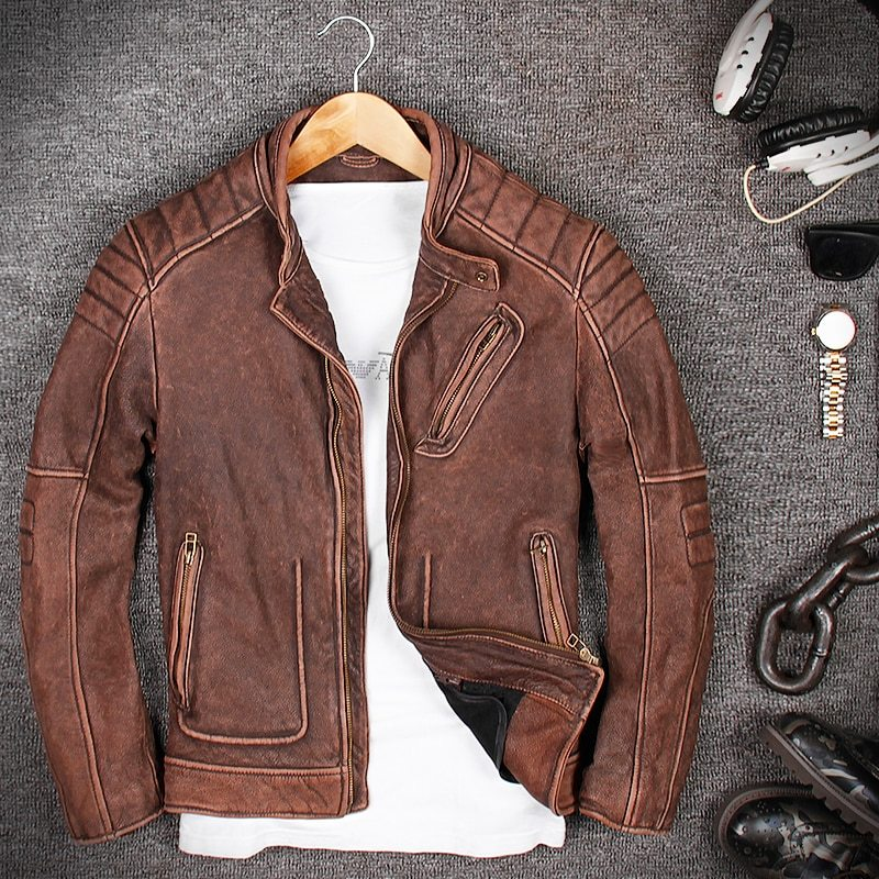 Free Shipping.Brand Classic Biker Cow Leather Jacket,man 100% Genuine Leather Jackets,vintage Quality Men Motor Biker Coat