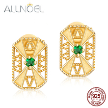 ALLNOEL S925 Sterling Silver 100% Real Emerald Collocation Zircon Design Stud Earrings Gold Color Tiff Jewelry Gifts For Women