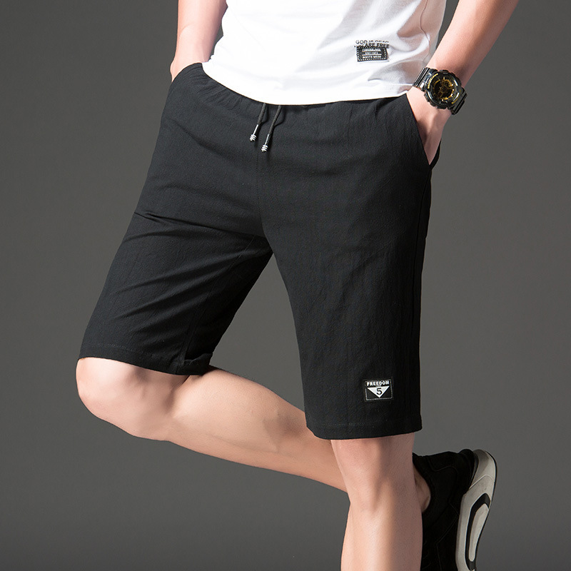 Shorts Men Summer Flax Trend Sports Loose-Fit Large Trunks Thin Capri Beach Shorts Casual Pants