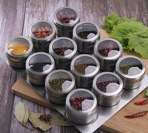 Spice-Jar-Set Storage-Container Sprays-Tools Pepper Seasoning Magnetic Stickers Stainless-Steel