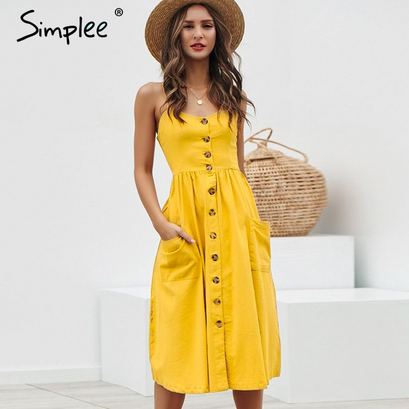 US $12.99 61% OFF|Simplee Elegant button women dress Pocket polka dots  yellow cotton midi dress Summer casual female plus size lady beach  vestidos-in ...