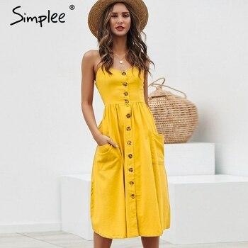 Simplee elegante botón Mujer vestido con bolsillos lunares amarillo algodón midi vestido de verano casual femenino de talla grande señora playa vestidos
