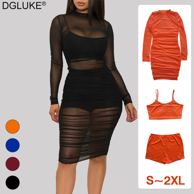 Sexy Black Mesh Dress Women Long Sleeve Ruched Bodycon Dress Plus Size Summer Midi Long Party Dress 3 Piece Set Outfits 1