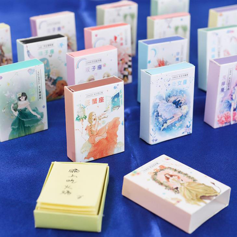 128 Pcs/pack Cartoon Mini Match Box Shape Twelve Constellations Girls Memo Pads Notepad Portable Craft Blank Memo Pad Stationery