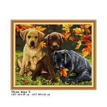 Three Puppies Counted Cross Stitch Kit DMC Color Cotton Thre