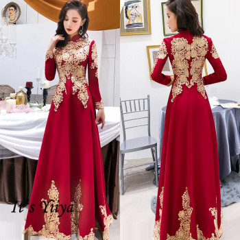 It's Yiiya Long Sleeve Evening Dress A-Line Elegant Plus Size Evening Dress 2020 K341 High Collar Lace Dress Woman Party plus size textured long sleeve high low dress