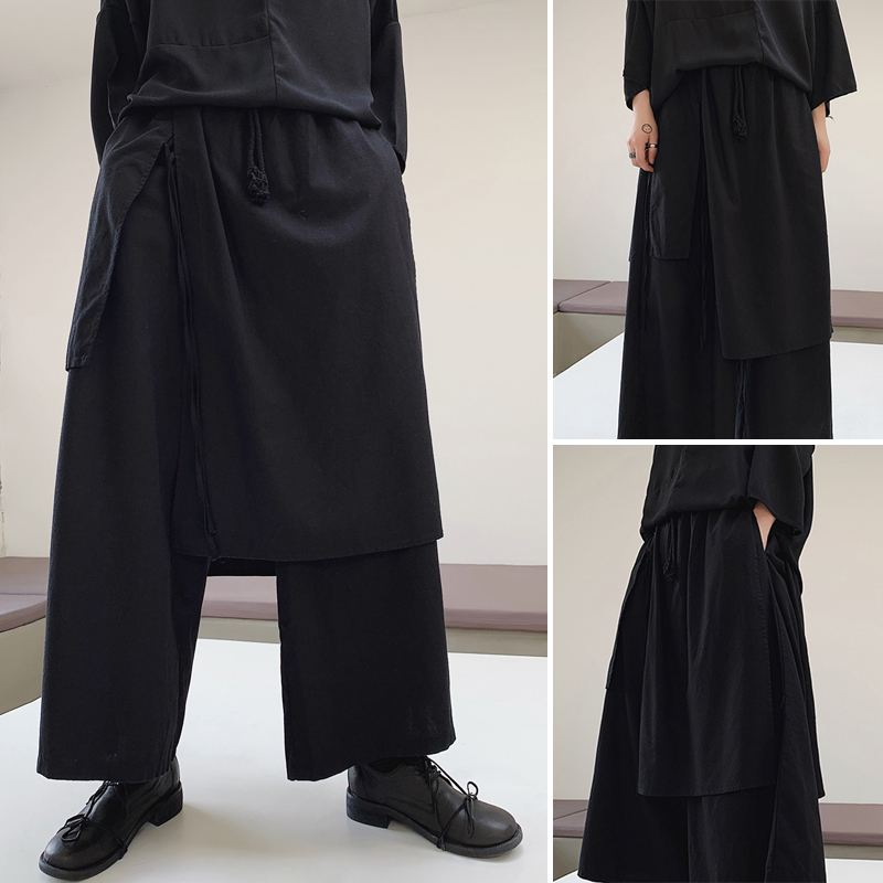 New Arrival Mens Irregular Elastic Waist Pants Loose Dressed Wide Leg Baggy Trousers Male Black Casual Oversize Long Bottoms