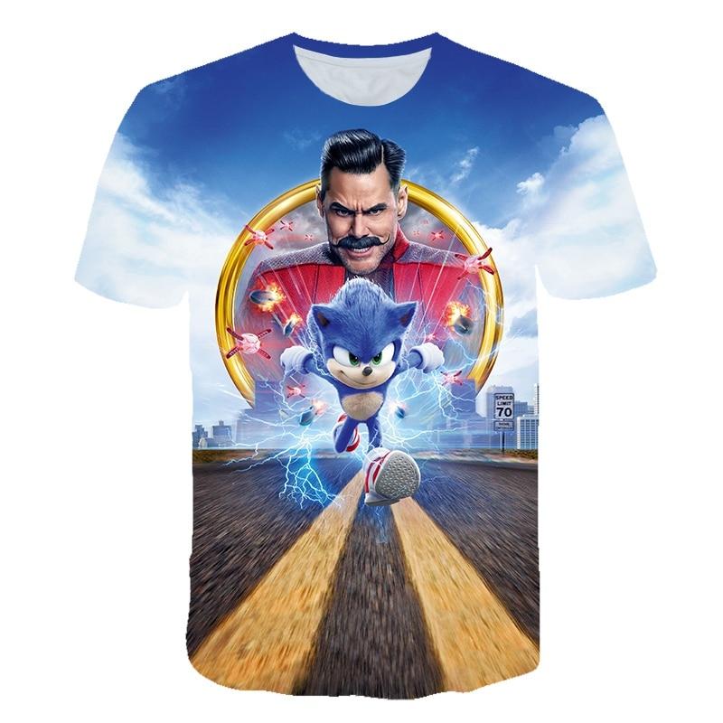 Sonic T-shirt Boy Girl Kid Cute Design Cool Spring And Summer Top Fashion Children 3D Printing Short Sleeve Children's Clothing