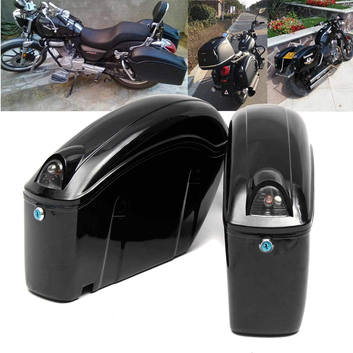 2pcs Cruiser Motorcycle Trunk Hard Bagaglio W/Lights Keys Saddlebags Luggages Waterproof image