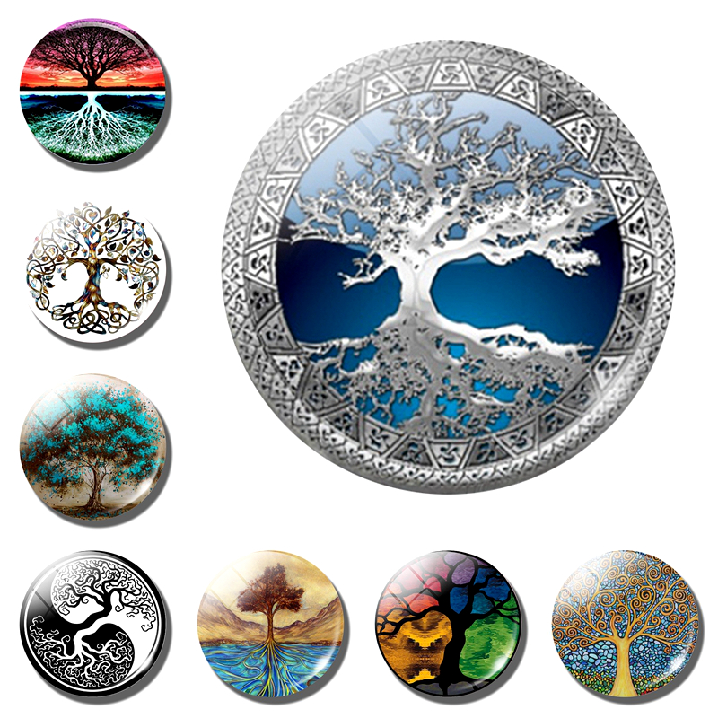 Tree Of Life Fridge Magnet 1PCS Glass Cabochon Life Tree Art Refrigerator Magnets Tree Of Life Fridge Stickers Home Decoration