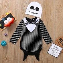 MUQGEW Newest Romper 2019 New Halloween Newborn Baby Boy Girl Nightmare Bat Striped Hat Outfits Set baby kleren roupas