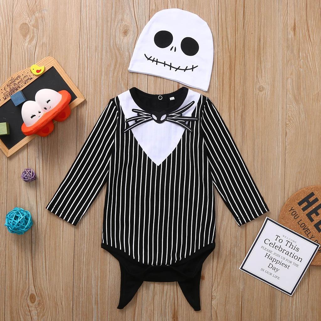 MUQGEW Newest   Romper   2019 New Halloween Newborn Baby Boy Girl Nightmare Bat Striped   Romper   Hat Outfits Set baby kleren roupas