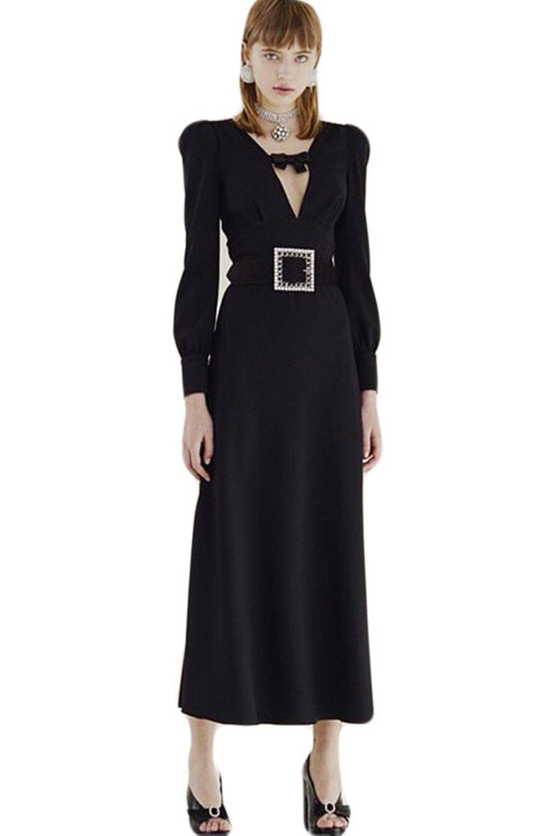 今週の割引 ロングドレス滑走路デザイナー高品質秋の新女性のファッションワークパーティーセクシーな Aditif.co.in BTC