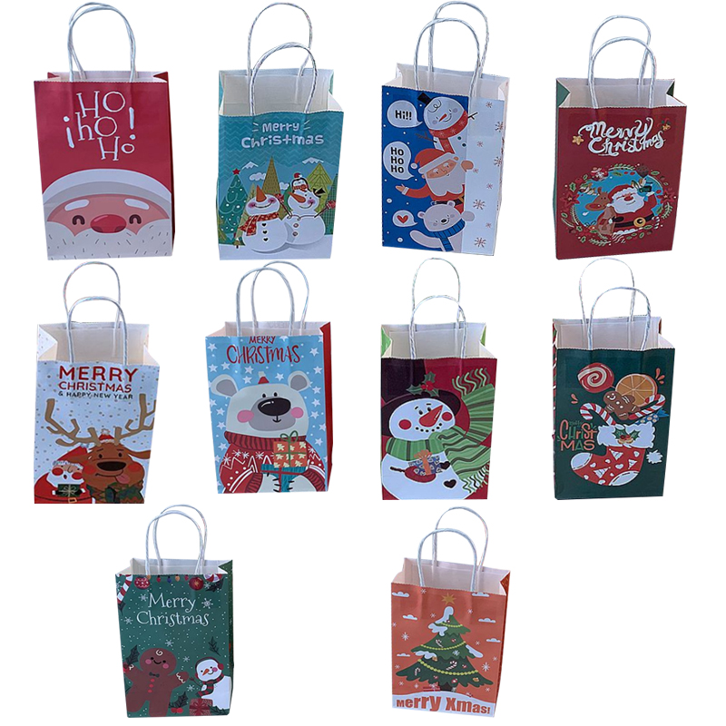 Image 2 - 10Pcs/lot Multifuntion Christmas Paper Bag 21*13*8cm Festival gift bags with Handles Christmas Party Supplies For Event Party-in Gift Bags & Wrapping Supplies from Home & Garden
