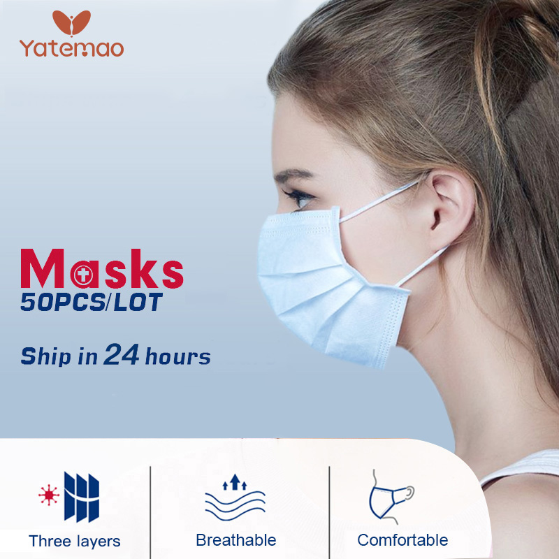 50PCS Disposable Mask Ffp3 Maternity Anti-Radiation Mask 3 Layer Mask Dust Protective Masks Elastic Ear Loop Safety Mask