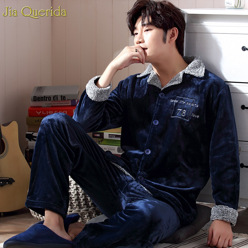 Mens Pajamas Cardigan Nightwear Couple Suits Long-Sleeve Matching Winter Warm Home And