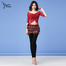 New Beginners Belly Dance Hip Scarf Sexy Basic Long Sleeve Practice Clothes Yoga Dance Costume Slim Fit Women Tops and Pants New