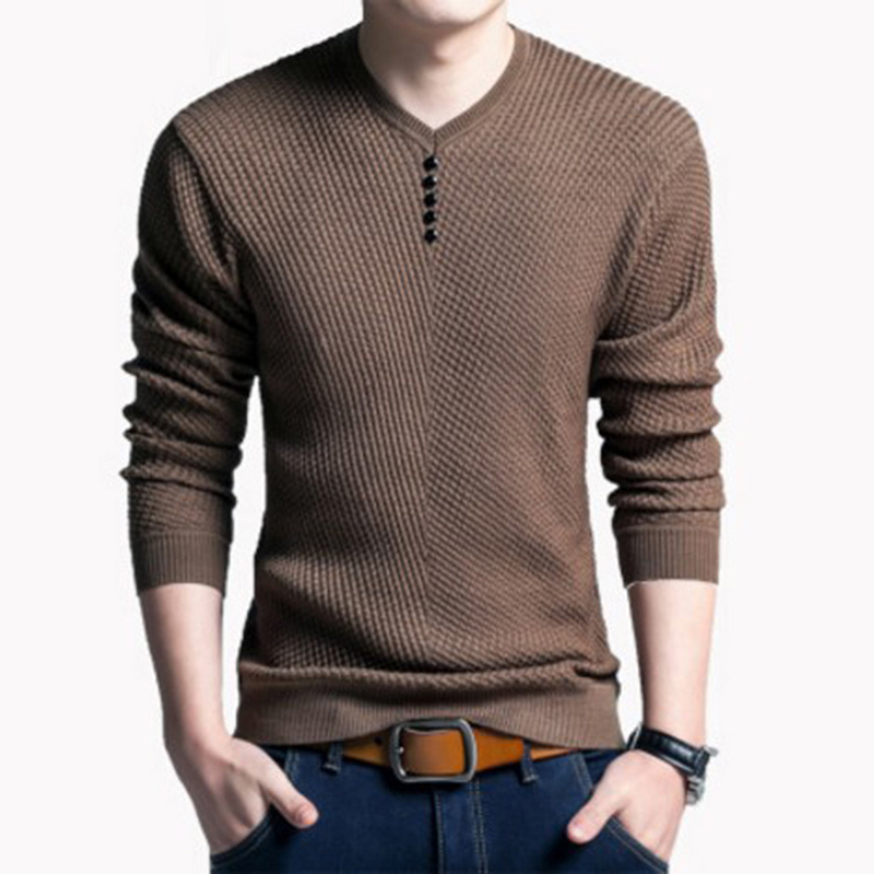 New Autumn Winter Fashion Solid Sweater Brand Clothing Men's Sweaters V-Neck Slim Fit Men Pullover Cotton Knitted Sweater M006