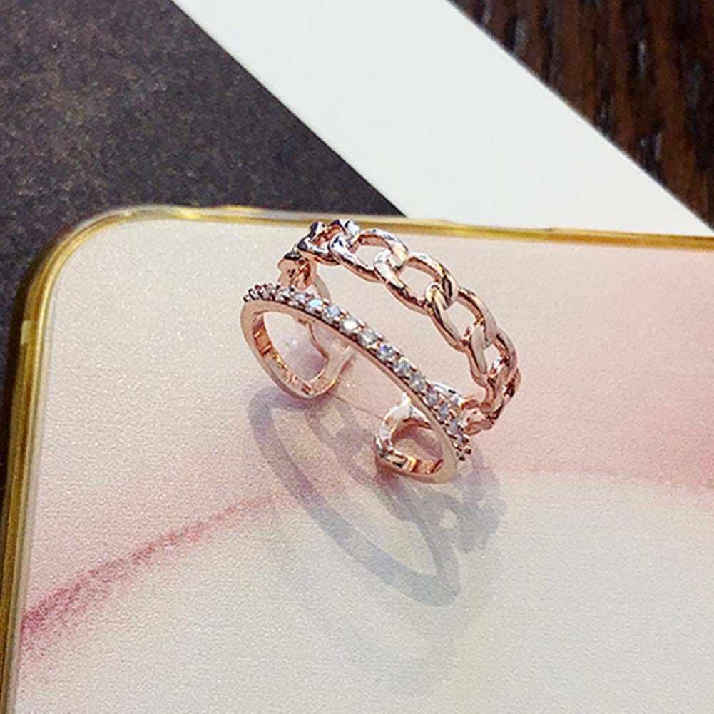 Nowa moda w stylu Vintage łańcuch podwójna warstwa pierścień złoty srebrny kolor zwykłe kryształki utorować ustawienie dekoracji otwarty pierścień kobiety biżuteria