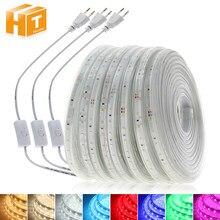 Tira de led de alto brilho, 220v, flexível, de segurança, 2835, gelo, rosa, vermelho, verde, azul, ip67, à prova d' água tira de luz led.
