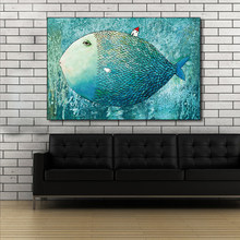 AAHH Small House on The Big Fish Painting Poster and Printing Wall Art Home Decorative Picture on Canvas Prints for Living Room