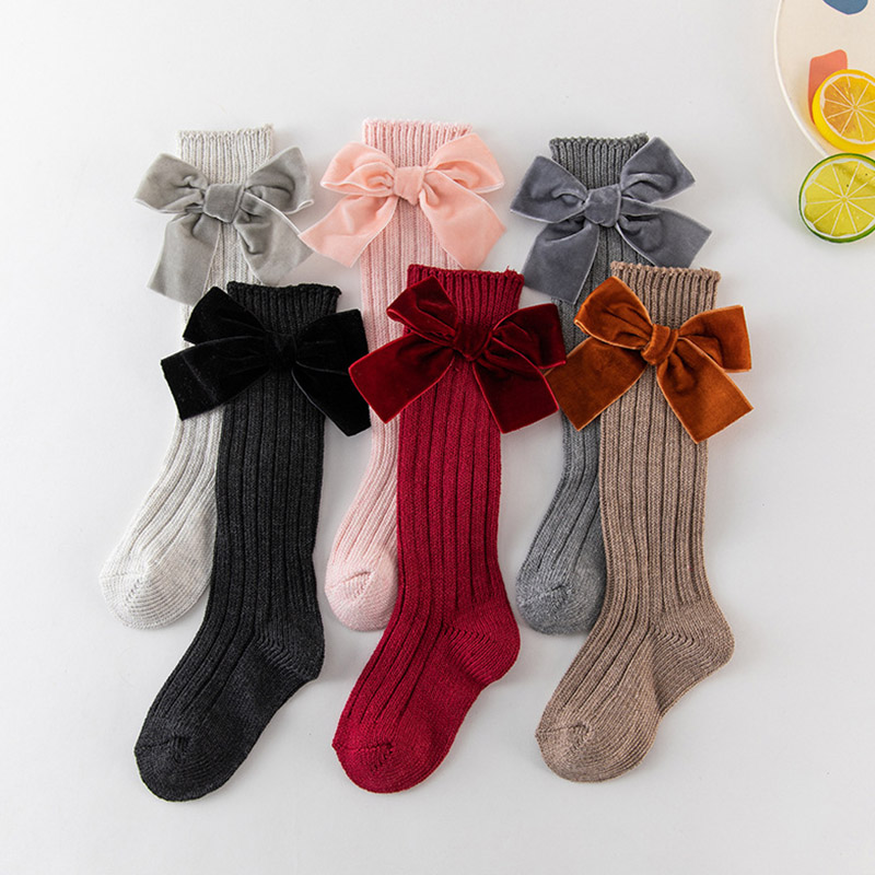 New Baby Summer Clothing Kids Toddlers Girls Big Bow Knee High Long Soft Cotton Lace Baby Socks Bowknot Cotton Socks