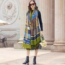 Pashmina Echarp de marca de lujo, bufanda de Cachemira, chal cálido, bufanda de invierno, bufandas de señora, borlas, manto largo, Cachecol Foulard