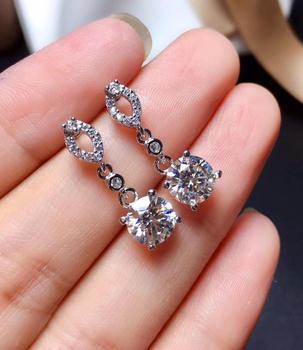 USPS envío Grado D VVS1 Real anillo pendientes de plata de ley 925 de alta calidad fina joyería con certificado
