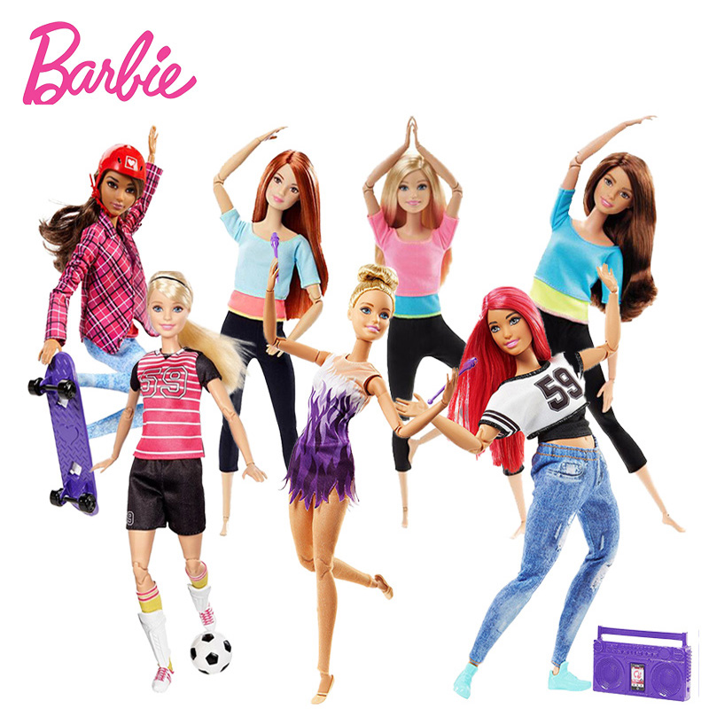 Original Barbie Doll The Ultimate Posable Barbie Doll Toy Gymnast Dancer Made To Movement Skateboarder Soccer Player Model Toys