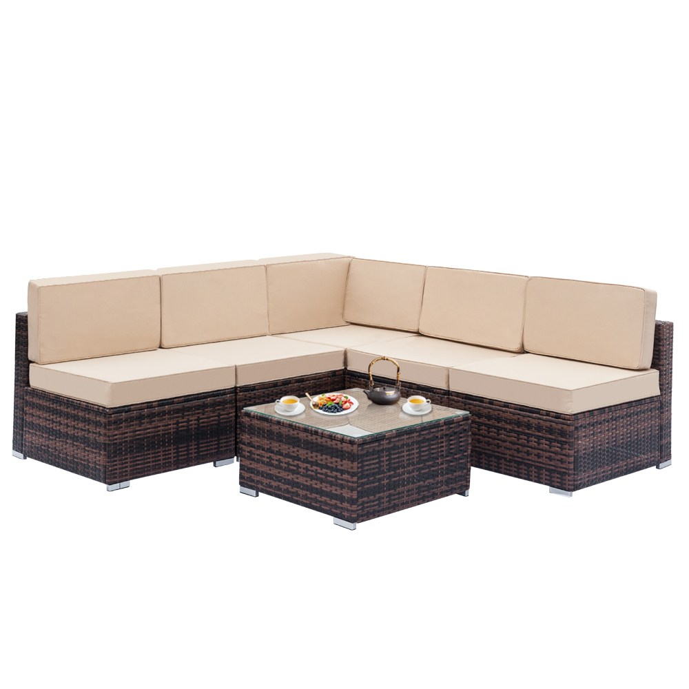 【US Warehouse】Fully Equipped Weaving Ratt Fully Equipped Weaving Rattan Sofa Set With 1 Corner & 4 Single & 1 Coffee Table Brown
