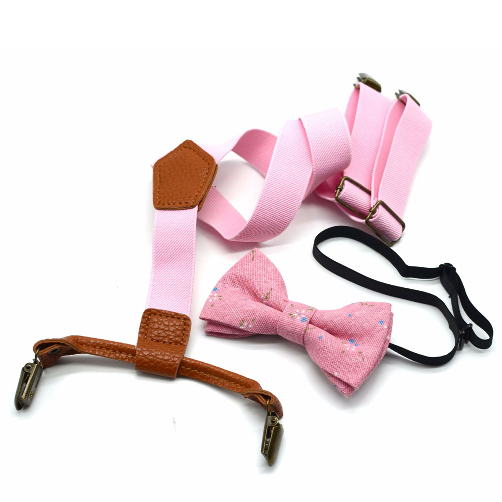 Polyester Unisex Suit Accessories Adjustable Solid Kids Cute Elastic Suspenders Clip Blouses For Children Printed Bow Tie Set