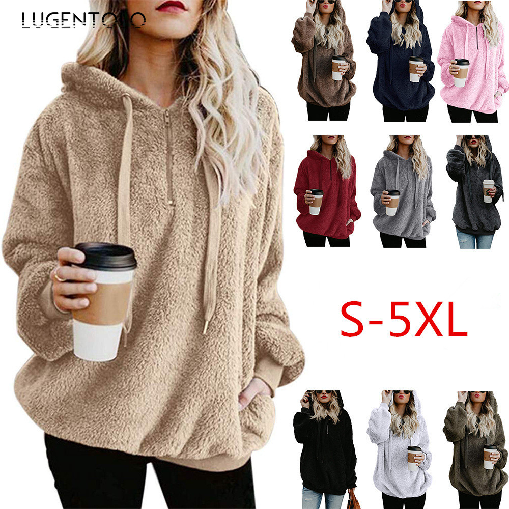 Lugentolo Women Hoodie Autumn Winter Plus Size Long Sleeve Solid Plush Casual Fashion 10 Colors Ladies Girl Tops Hoodies 5XL