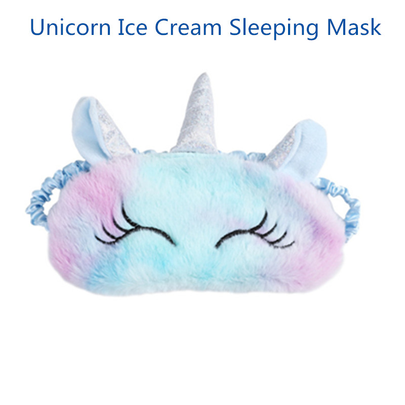 3D Unicorn Ice Cream Eye Mask Cartoon Variety Sleeping Mask Eyeshade Relax MaskPlush Eye Shade Cover For Travel Home Party Gifts