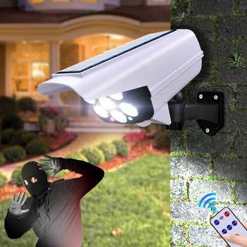 Solar Light Motion Sensor Security Dummy Camera Wireless Outdoor Flood Light IP65 Waterproof 77 LED Lamp 3 Mode for Home Garden image