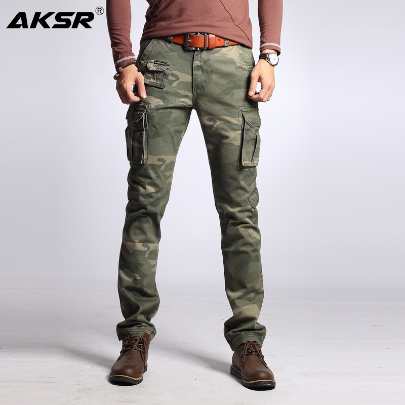 AKSR Men's Casual Cotton Cargo Pants Large Size Flexible Tactical Military Camo Pants Khaki Pants Man Trousers Pantalones Hombre
