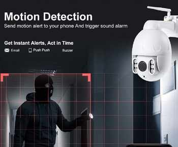 5MP WiFi PTZ Camera Outdoor Motion Detection Pan/Tilt 5X Optical Zoom 2 Way Audio Wireless IP Camera Onvif 30M IP66