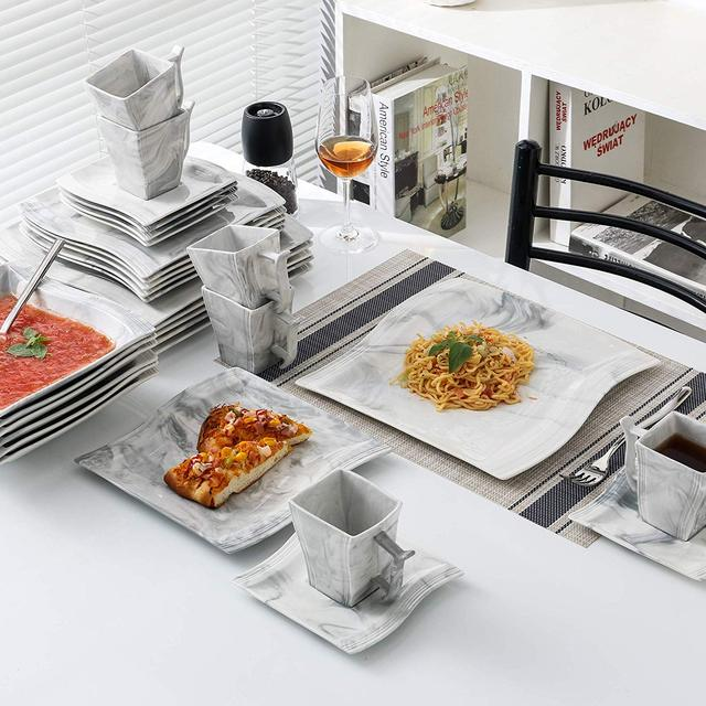 MALACASA Flora 30-Piece Marble Porcelain Dinnerware Set with 6*Dinner Plate,Dessert Plate,Soup Plate,Cups&Saucers Tableware Set 1