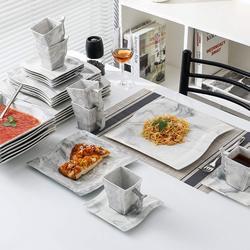 MALACASA Flora 30-Piece Marble Porcelain Dinnerware Set with 6*Dinner Plate,Dessert Plate,Soup Plate,Cups&Saucers Tableware Set